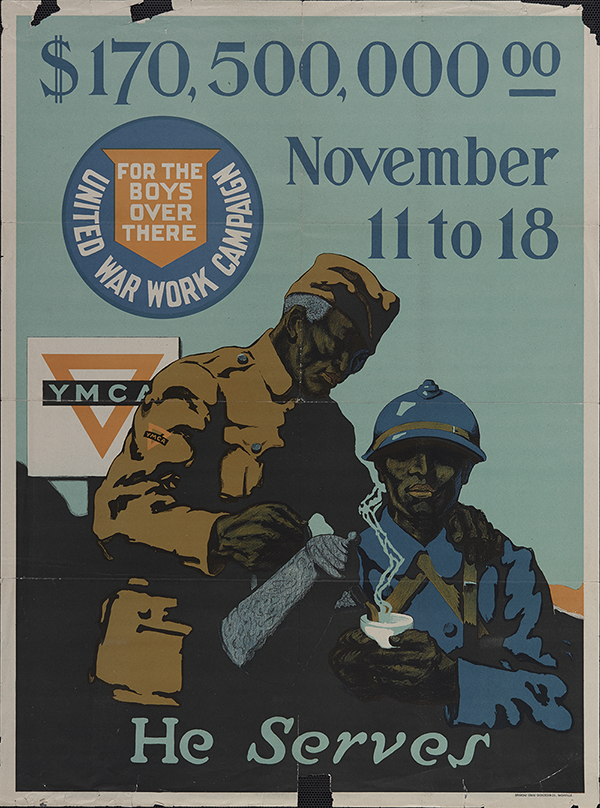 Promotional Poster for the United War Work campaign which raised money for the YMCAs WWI relief work, 1919