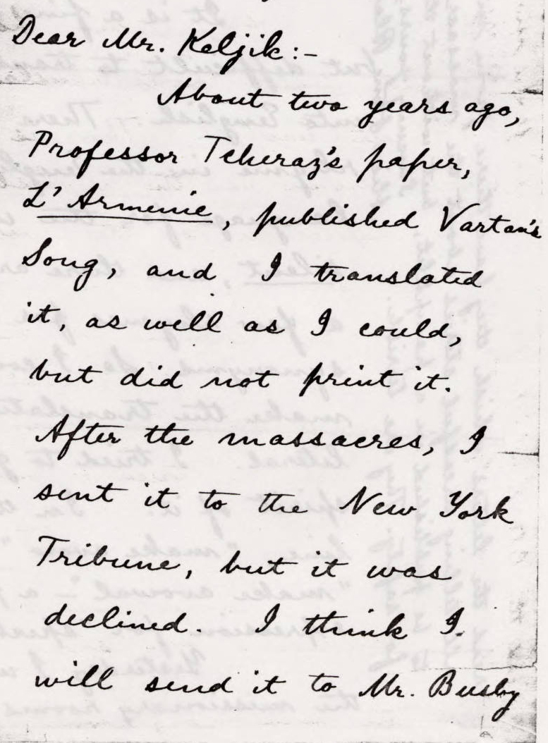Cropped copy of a handwritten letter by Alice Stone Blackwell, editor of the WOMEN'S JOURNAL, to Bedros Keljik on the topics of Armenian poetry translation and recent news. Created 1894-01-27