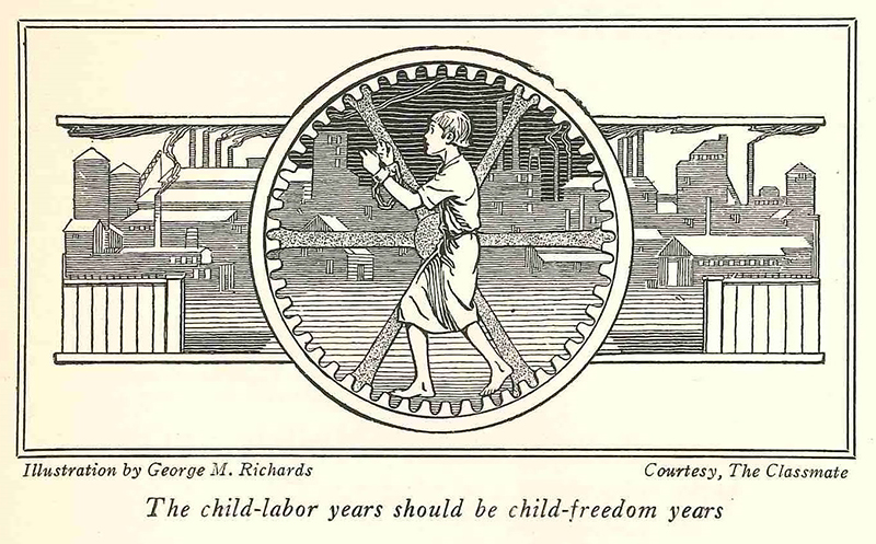 An anti-child labor illustration by George M. Richards from the pamphlet
