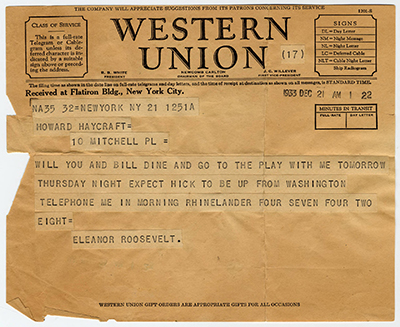 Telegram sent from Eleanor Roosevelt to Howard Haycraft inviting him to dinner and a play, 1933