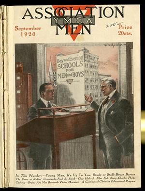 Association Men- Cover of YMCA publication Association Men promoting YMCA schools, 1920.