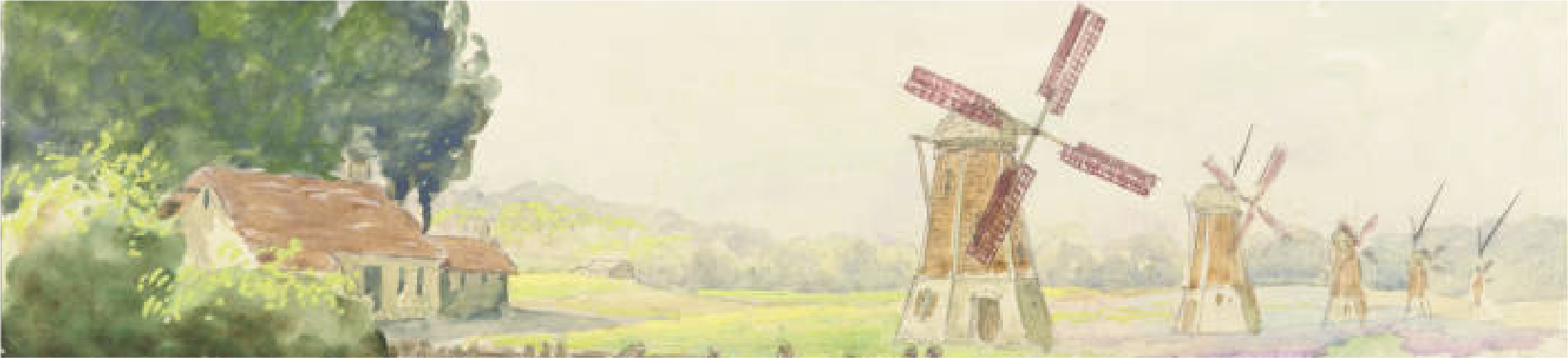Landscape composition includes a house near a river with windmills. By Tompkins, Albert J. Part of the Twin City Scenic Company Collection, University of Minnesota Performing Arts Archives.