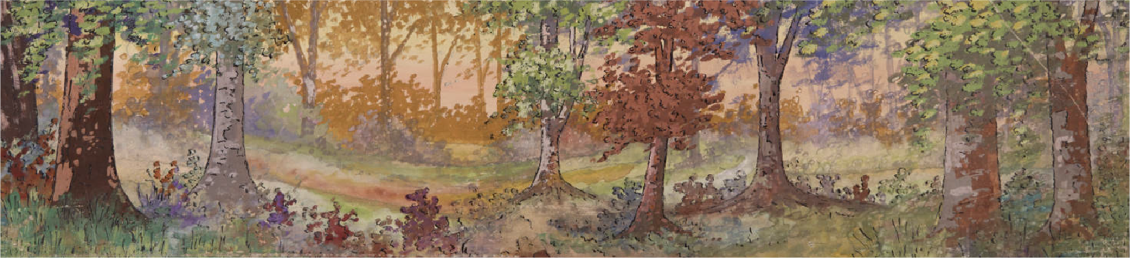 Exterior landscape of a forest. By Northwest Studios, Inc. Part of the Twin City Scenic Company Collection, University of Minnesota Performing Arts Archives.