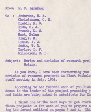 M.F. Kernkamp memo, 1961. Forms part of the Green Revolution digitization project, University of Minnesota Libraries, University Archives.